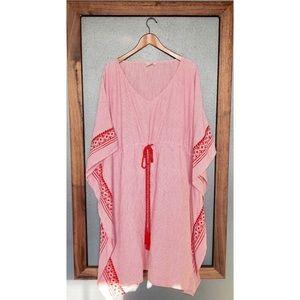 Eshakti Embellished Cotton Pinstripe Caftan
